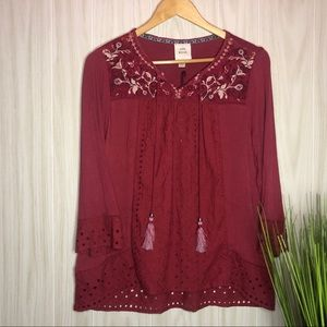 Knox Rose Embroidery Blouse Size Medium